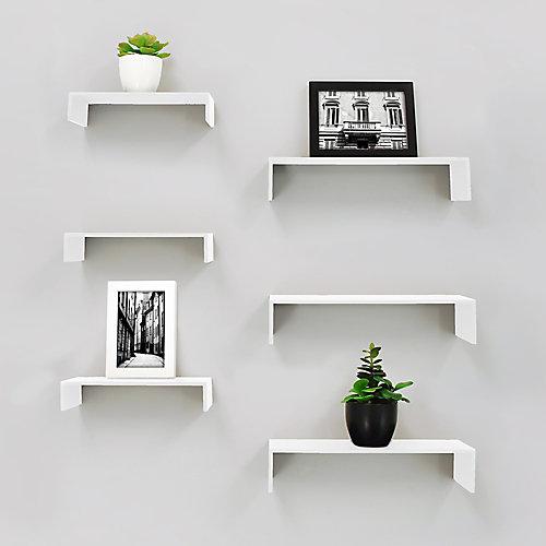 Extense paquet de 6 étagère murale - Blanc