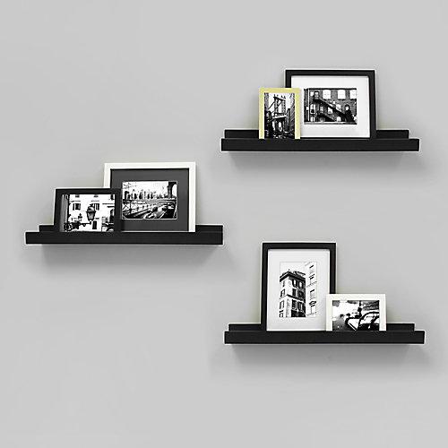 Edge paquet de 3 - 23 po x 4 po cadre étagère - Noir