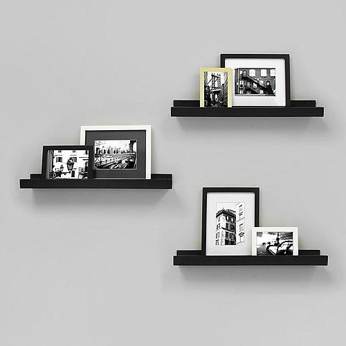 Edge - 23x4 Inch Picture Frame Ledge- Black (3-Pack)