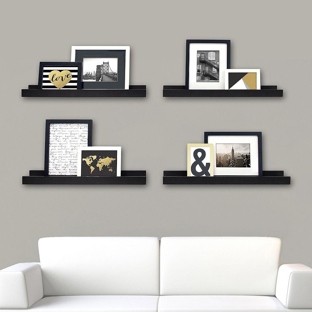 Kiera Grace Edge - 23x4 Inch Picture Frame Ledge- Black (4-Pack)