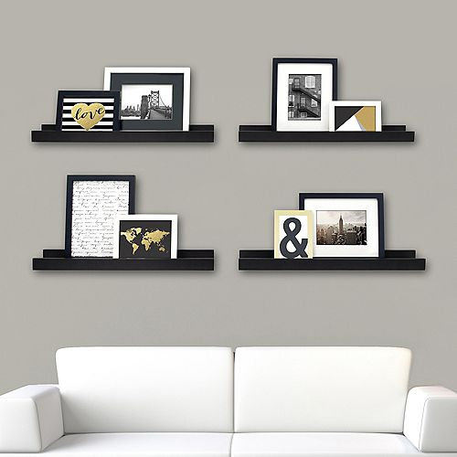 Edge - 23x4 Inch Picture Frame Ledge- Black (4-Pack)