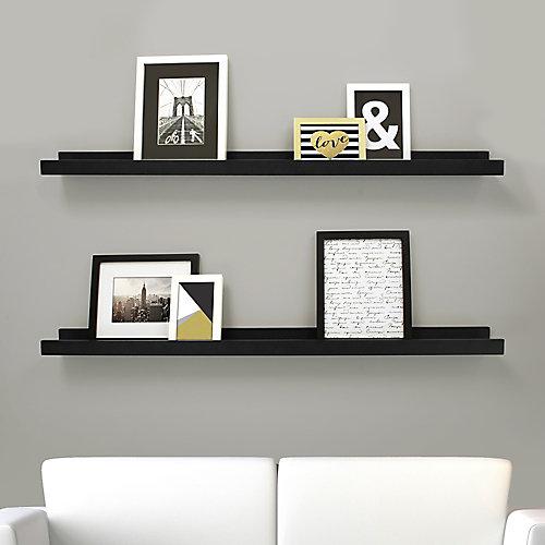Edge paquet de 2 - 44 po x 4 po cadre étagère - Noir