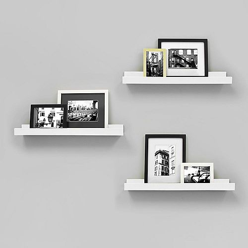 Edge - 23x4 Inch Picture Frame Ledge- White (3-Pack)