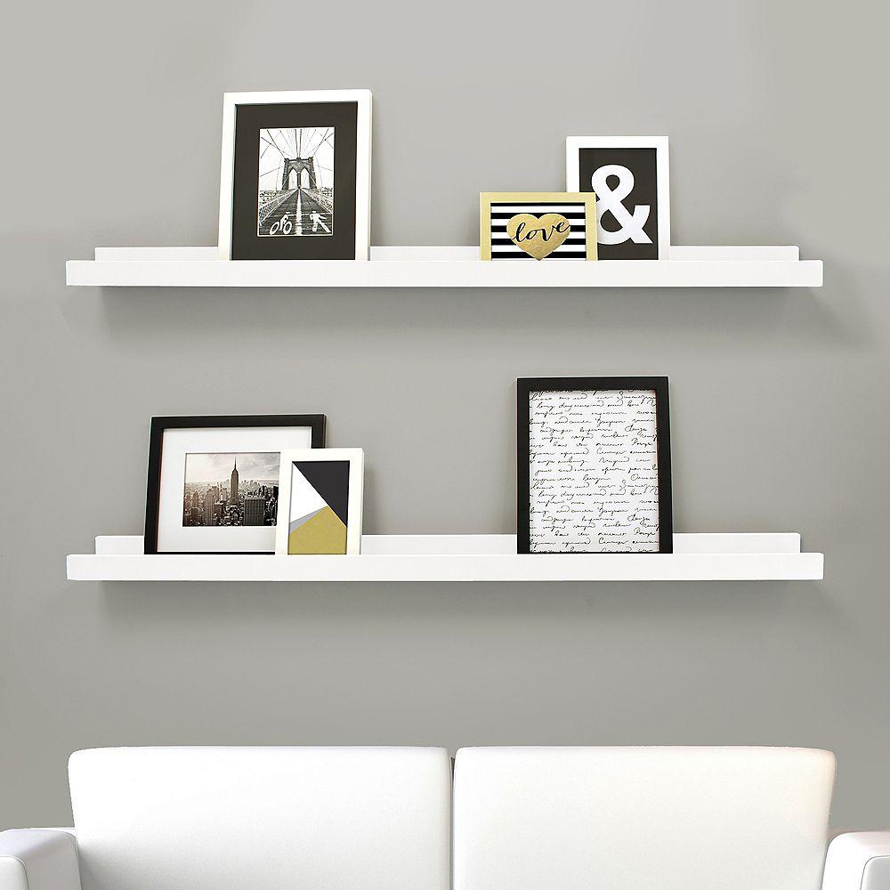 Kiera Grace Edge paquet de 2 - 44 po x 4 po cadre étagère - Blanc
