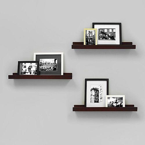 Edge - 23x4 Inch Picture Frame Ledge- Espresso (3-Pack)