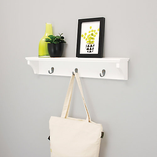 Finley 24x4x4.25 Inch  Wall Shelf with 3 Metal Hooks- White