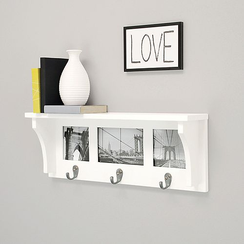 Riley 18.75x4x7 Inch  Wall Shelf With Picture- White