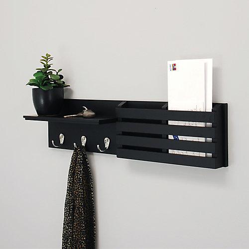 Sydney 24x4.25x6 Inch  Wall Shelf & Mail Sorter- Black