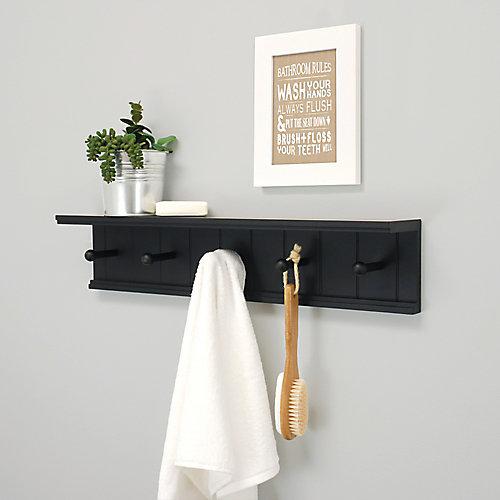 Kian 24x4x5.25 Wall Shelf With 5 Pegs- Black