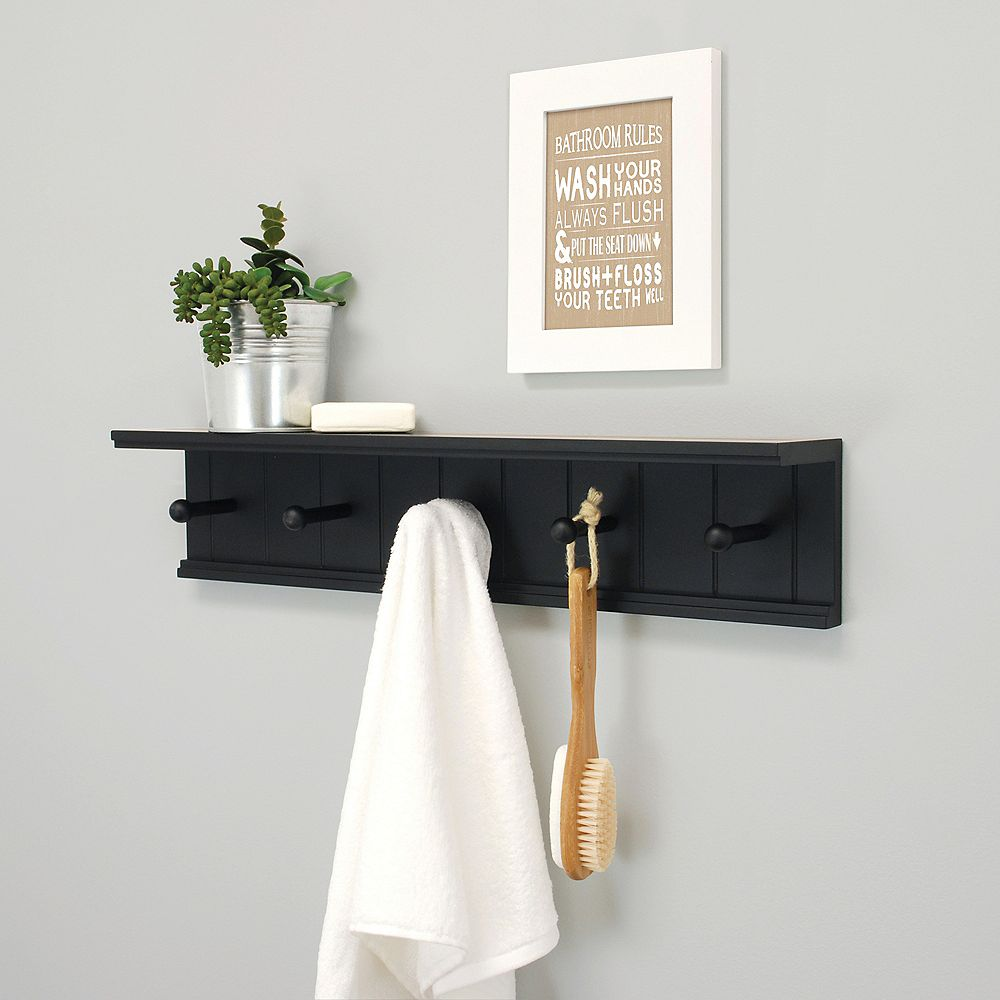 Kiera Grace Kian 24x4x5.25 Wall Shelf With 5 Pegs- Black