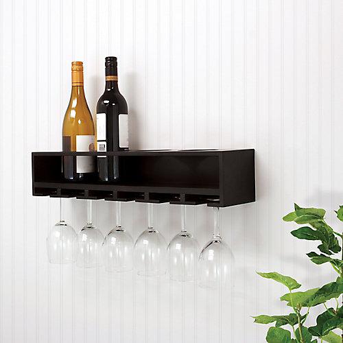 Claret 22x5x4.5 Inch  Wine Bottle & Glass Holder Wall Shelf- Black