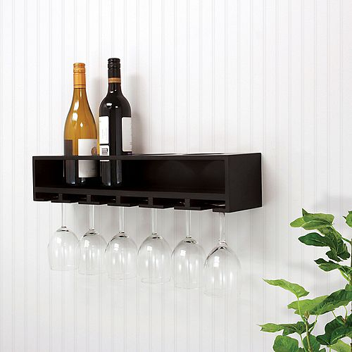Claret 22x5x4.5 Inch  Wine Bottle & Glass Holder Wall Shelf- Black