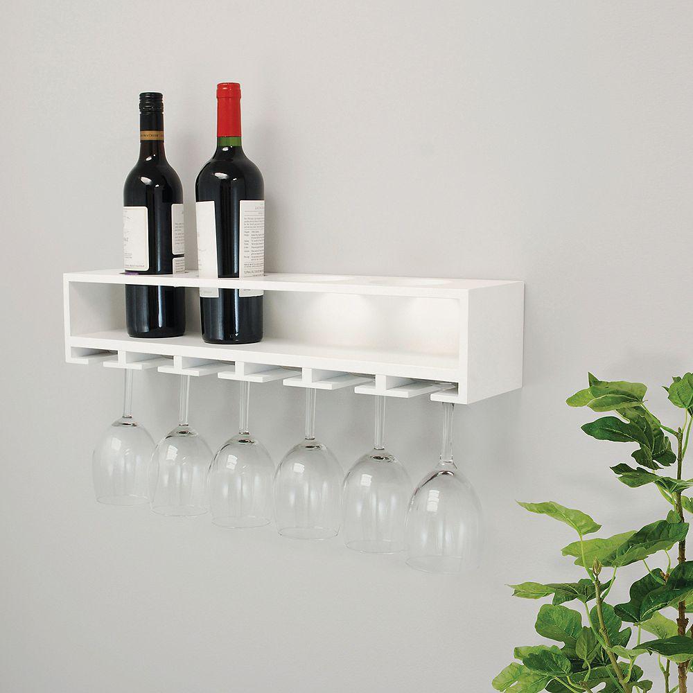 Kiera Grace Claret 22x5x4.5 Inch Wine Bottle & Glass Holder Wall Shelf- White