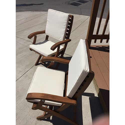 Cushion for Casino Patio Folding Chair in Cream (2-Pack)