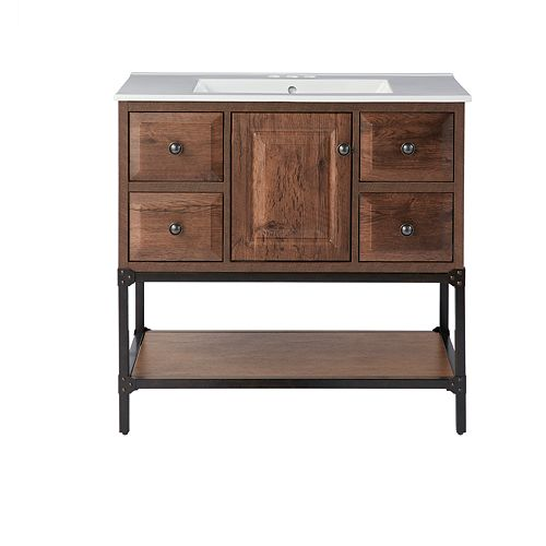 Salvatore 35.87-inch W 4-Drawer 1-Door Freestanding Vanity in Brown With Ceramic Top