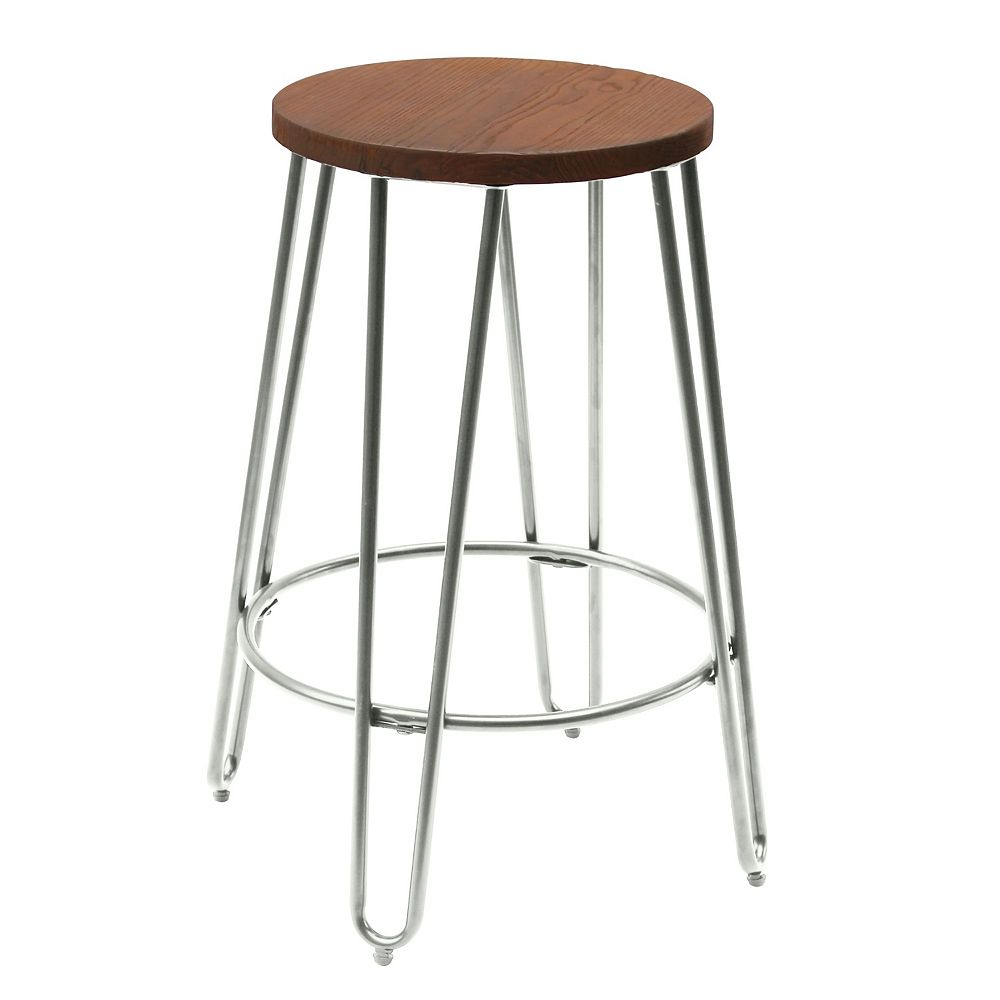 Reservation Seating Quinn Metal Silver Industrial Backless Armless Bar Stool with Brown Wood Seat