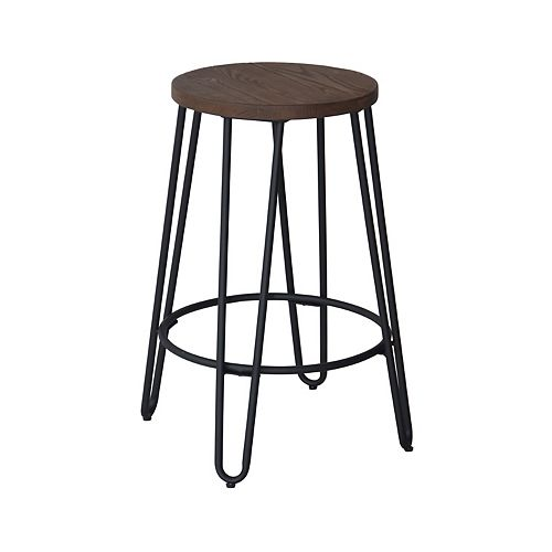 Quinn Metal Black Industrial Backless Armless Bar Stool with Brown Wood Seat