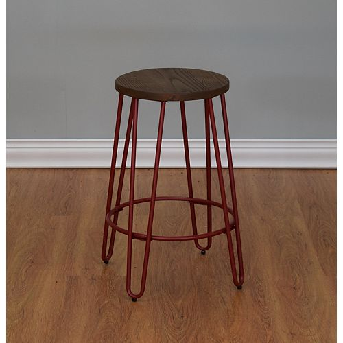 Quinn Metal Red Industrial Backless Armless Bar Stool with Brown Wood Seat