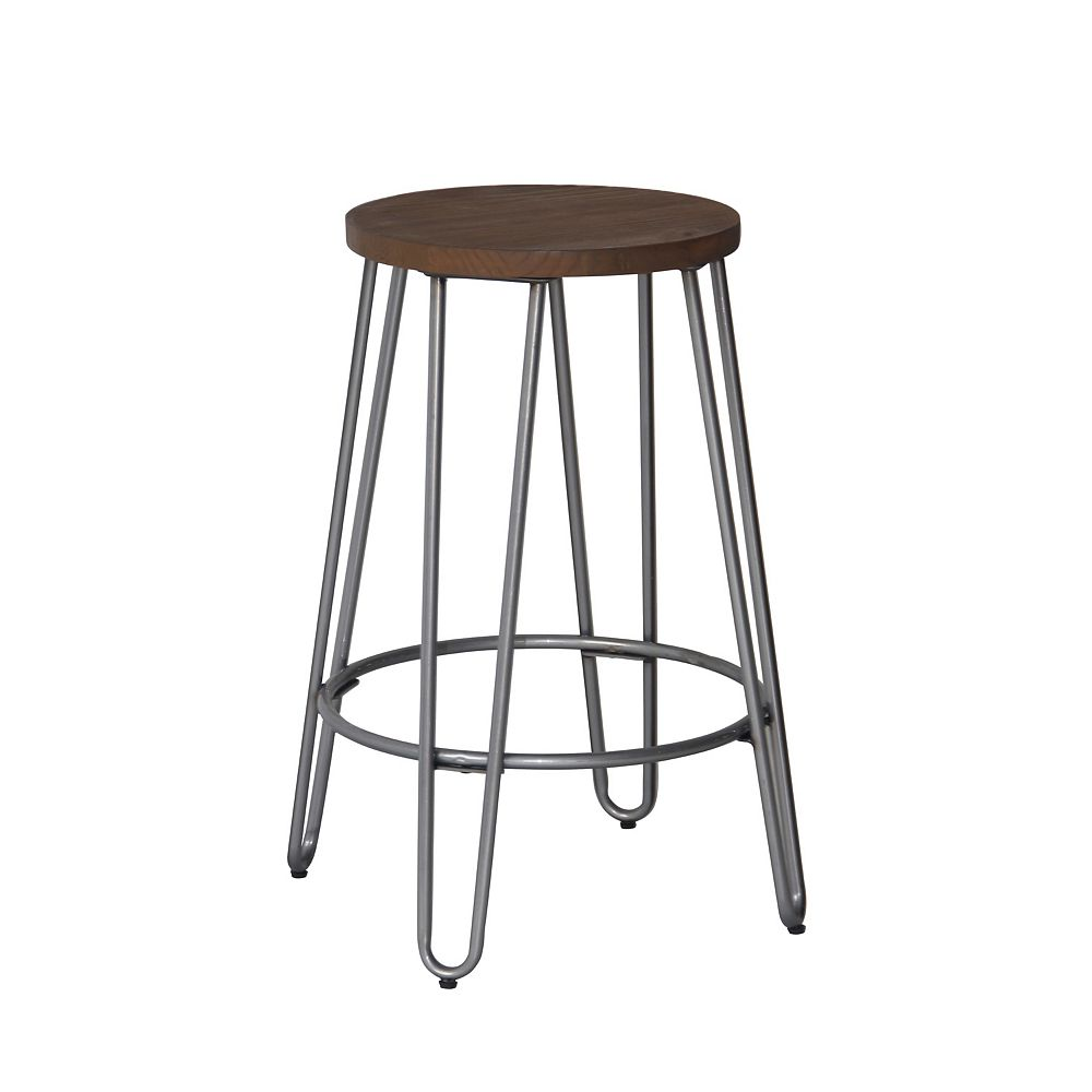 Reservation Seating Quinn Metal Natural Industrial Backless Armless Bar Stool with Brown Wood Seat