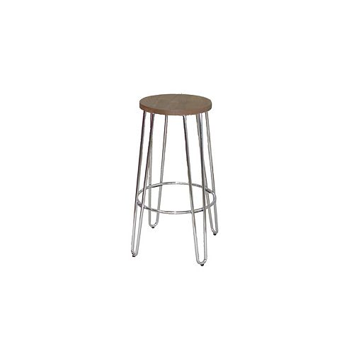Quinn Metal Silver Industrial Backless Armless Bar Stool with Brown Wood Seat