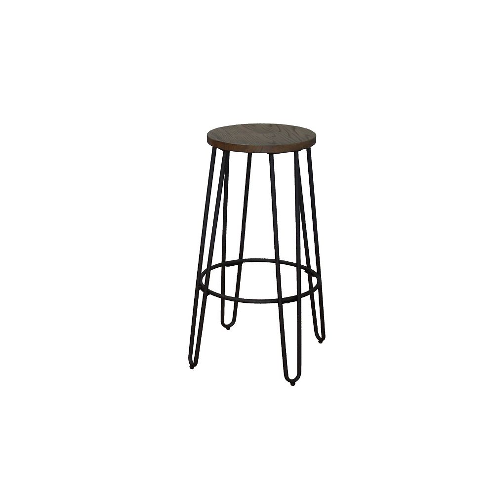 Reservation Seating Quinn Metal Black Industrial Backless Armless Bar Stool with Brown Wood Seat