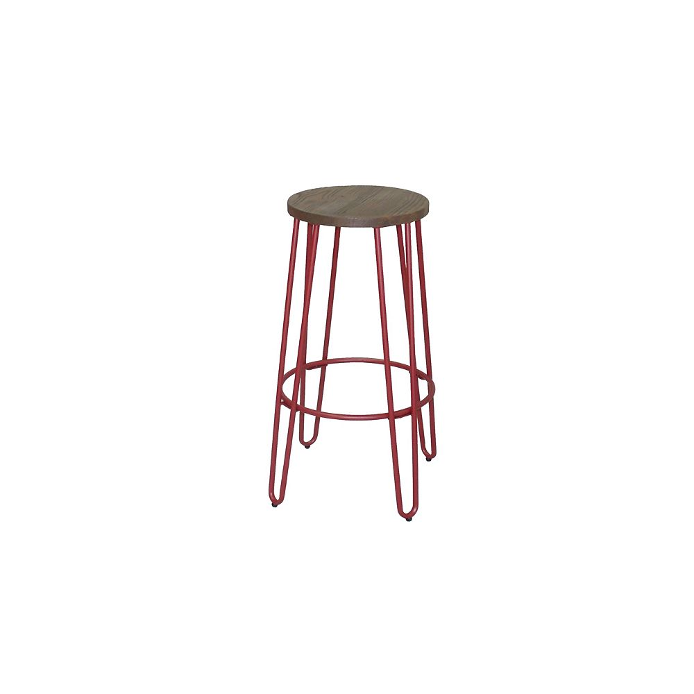 Reservation Seating Quinn Metal Red Industrial Backless Armless Bar Stool with Brown Wood Seat