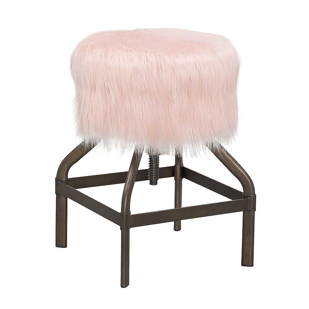 Reservation Seating Metal Modern Backless Armless Bar Stool with Pink Fur Seat