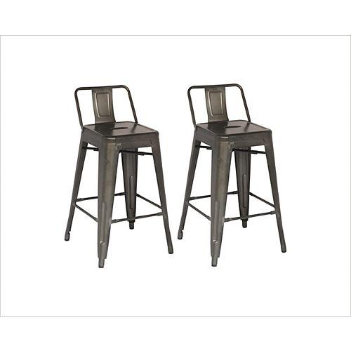 Metal Grey Rustic Low Back Armless Bar Stool with Grey Metal Seat