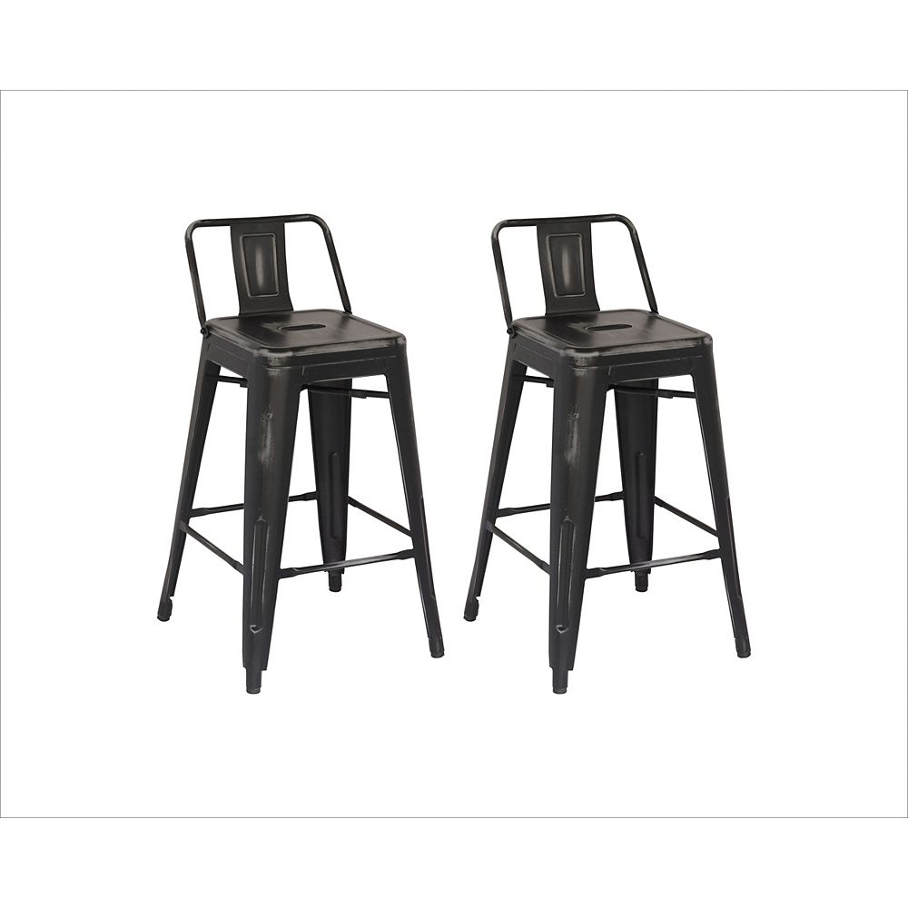 Reservation Seating Distressed Antique Metal Grey Rustic Low Back Armless Bar Stool with Grey Metal Seat (Set of 2)