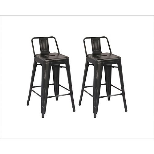 Distressed Antique Metal Grey Rustic Low Back Armless Bar Stool with Grey Metal Seat (Set of 2)