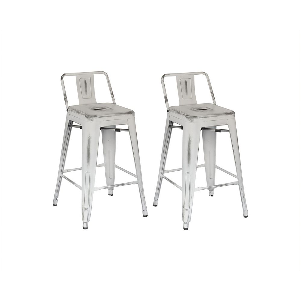 Reservation Seating Distressed Antique Metal White Rustic Low Back Armless Bar Stool with White Metal Seat