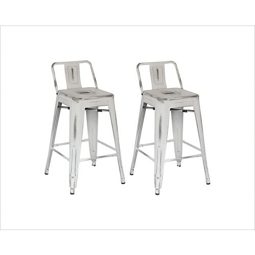 Distressed Antique Metal White Rustic Low Back Armless Bar Stool with White Metal Seat