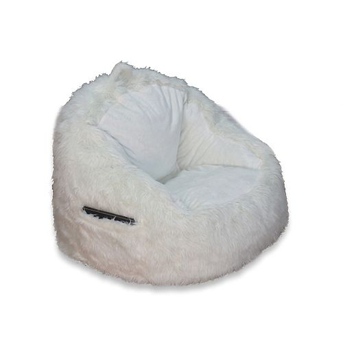 Fur Chair with Tablet Pocket in Cream
