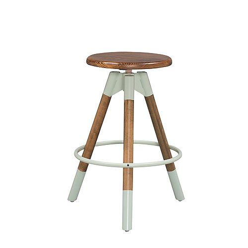 Modern Backless Wood & Metal Walnut Armless Bar Stool