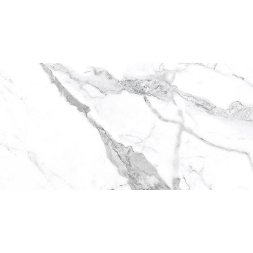 Tuile de porcelaine polie Statuario HD de 12 po x 24 po