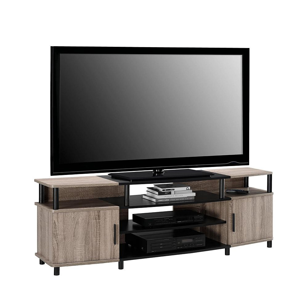 Dorel Carson 135 lb. Capacity Entertainment Console for 70-inch TVs in Sonoma Oak and Black