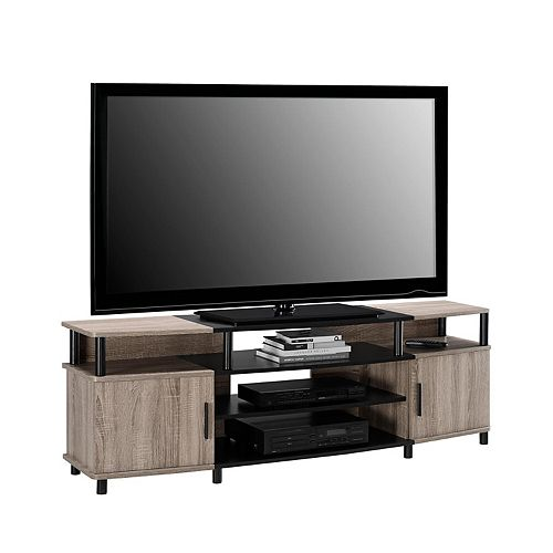 Carson 135 lb. Capacity Entertainment Console for 70-inch TVs in Sonoma Oak and Black