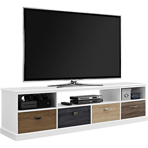 Mercer 120 lb. Capacity TV Console with Multi-coloured Drawer Fronts for 65-inch TVs in White