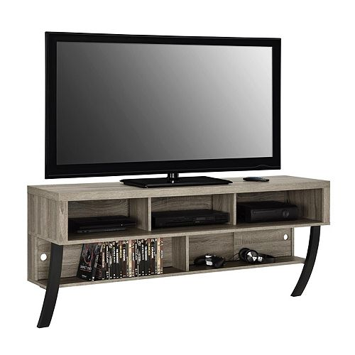Asher Wall Mounted 135 lb. Capacity 5-Shelf TV Stand for 65-inch TVs in Sonoma Oak