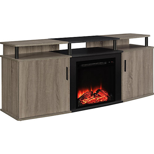 Carson Electric 135 lb. Capacity Fireplace Entertainment Console for 70-inch TVs in Sonoma Oak and Black