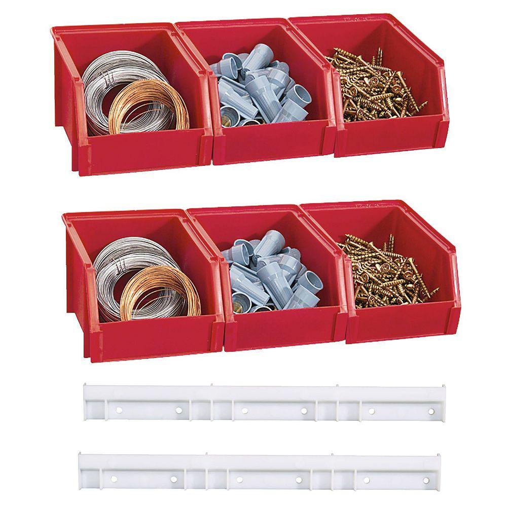 Stack On Ensemble de six petits bacs de rangement avec crochets - Rouge