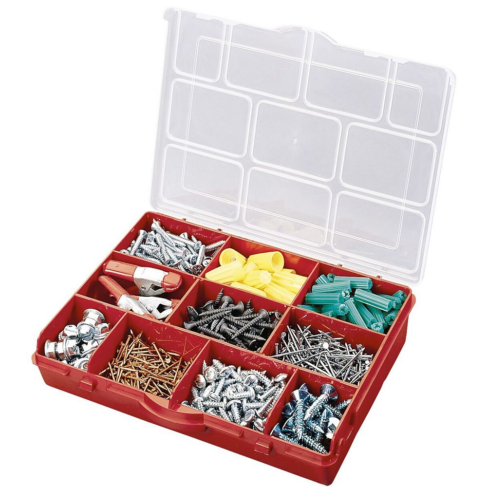 Stack On 10-Compartment Portable Storage Box in Red