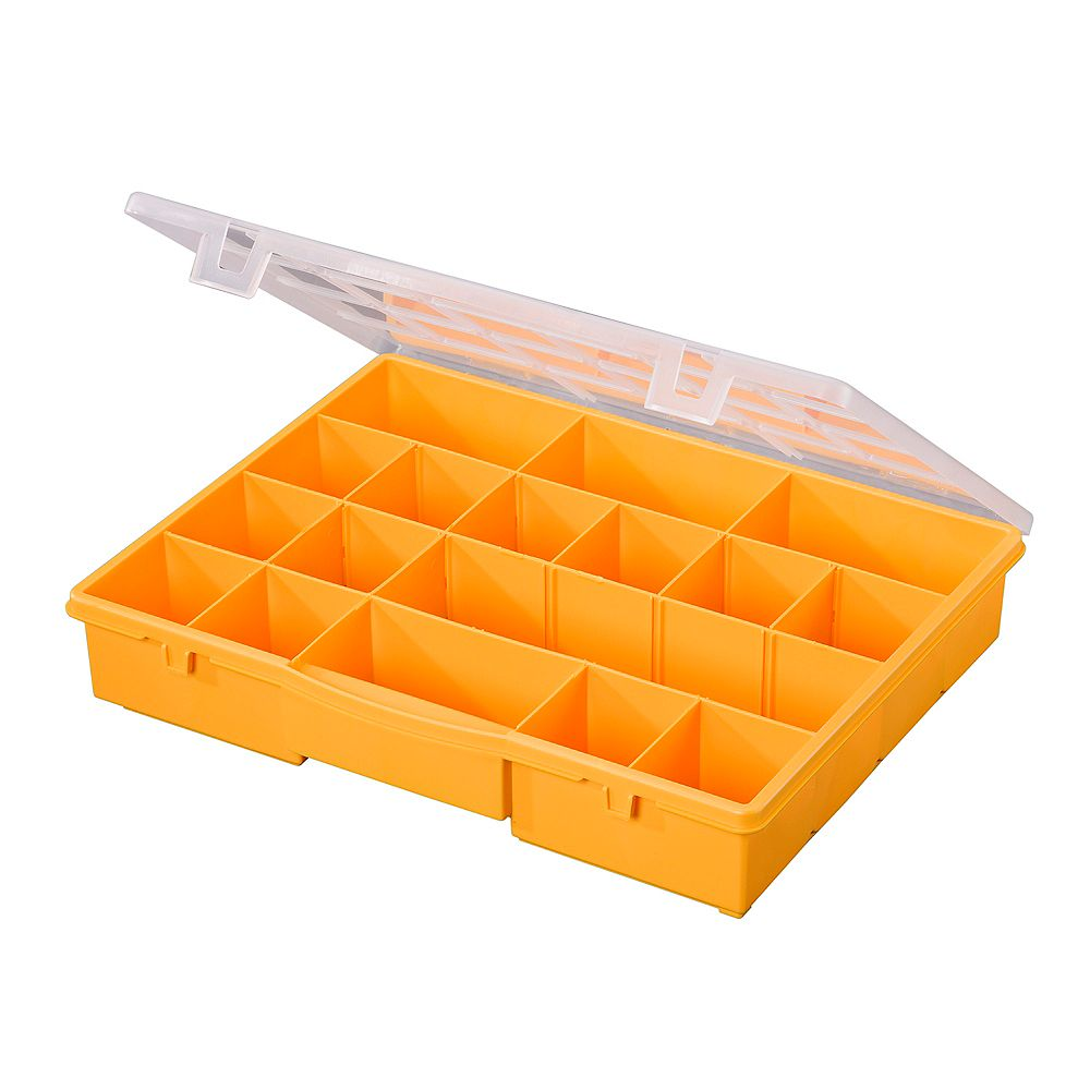 Stack On 17-Compartment Portable Storage Box in Yellow