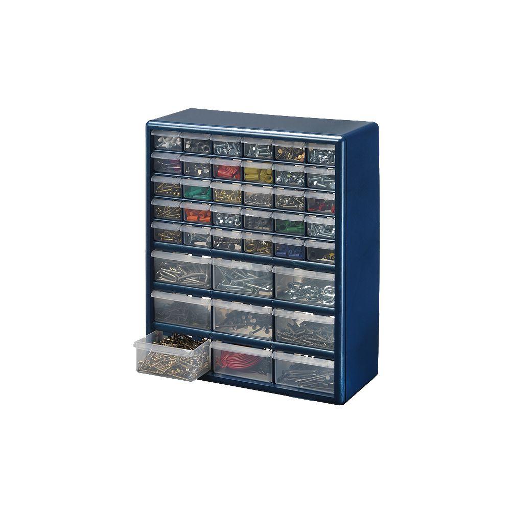 Stack On 39-Bin Plastic Drawer Cabinet in Silver Grey ...