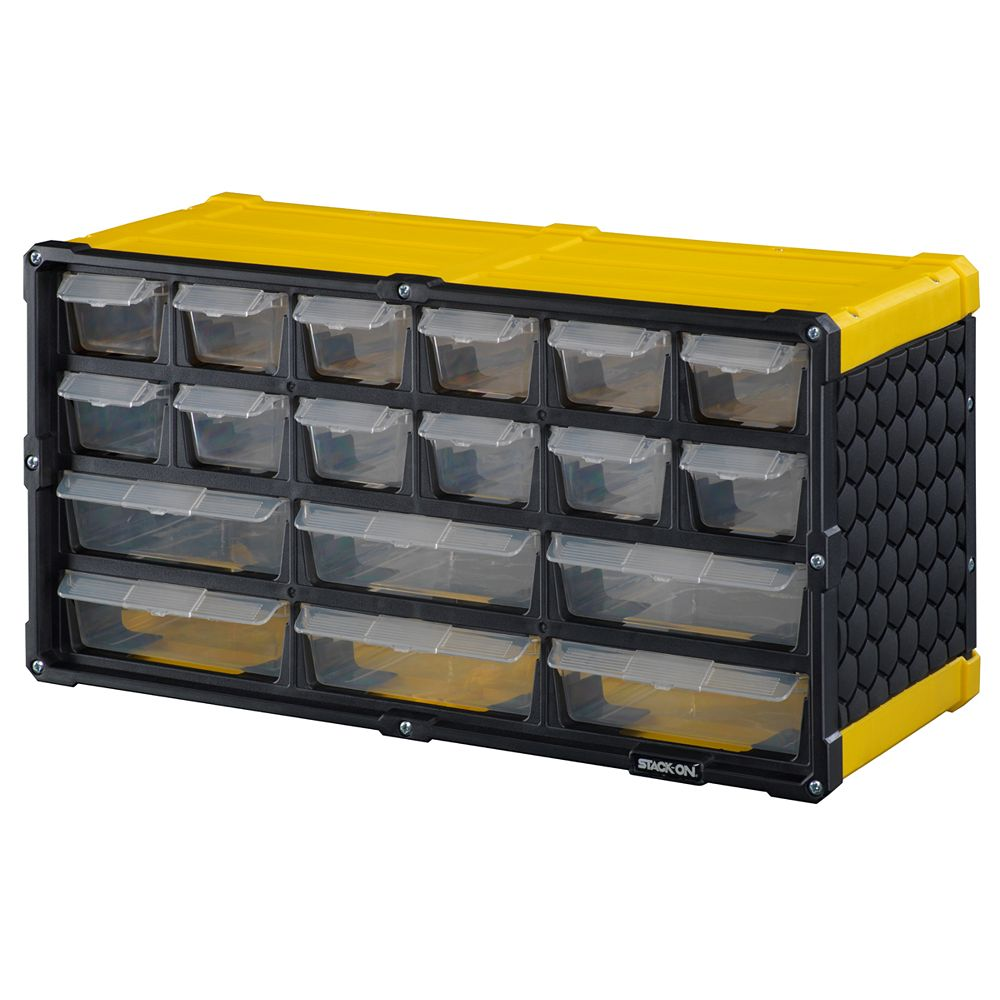 Stack On 18-Drawer Storage Cabinet in Yellow