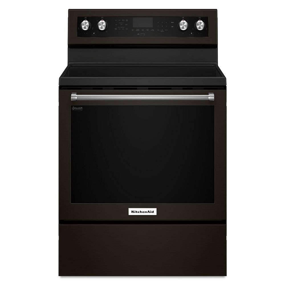 KitchenAid 6.4 cu. ft. Electric Range with Self-Cleaning Convection Oven in Black Stainless Steel
