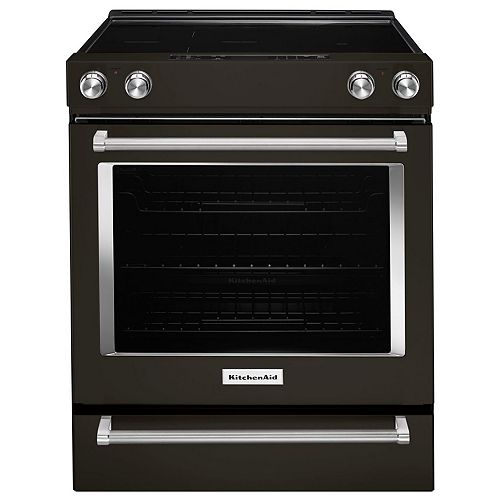 6.4 cu. ft. Electric Range with Self-Cleaning Convection Oven in Black Stainless Steel