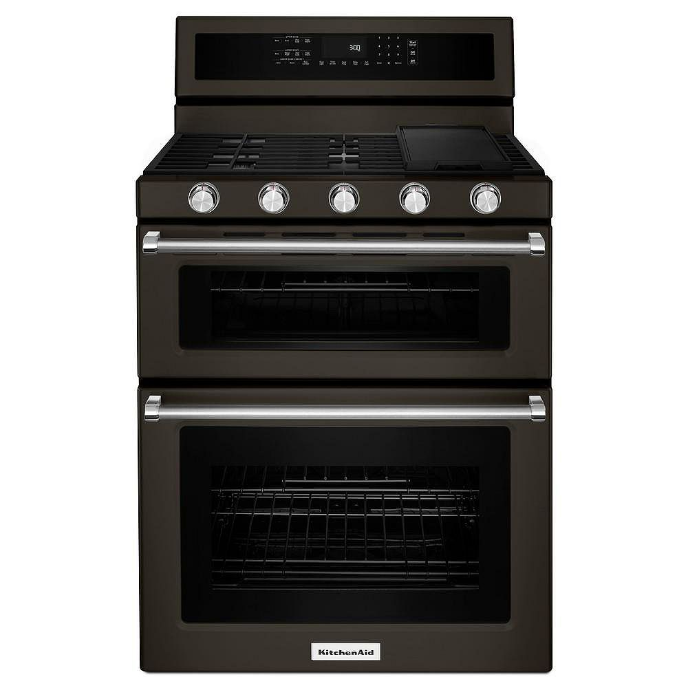 KitchenAid 6.0 cu. ft. Double Oven Gas Range with Self-Cleaning Convection Oven in Black Stainless Steel
