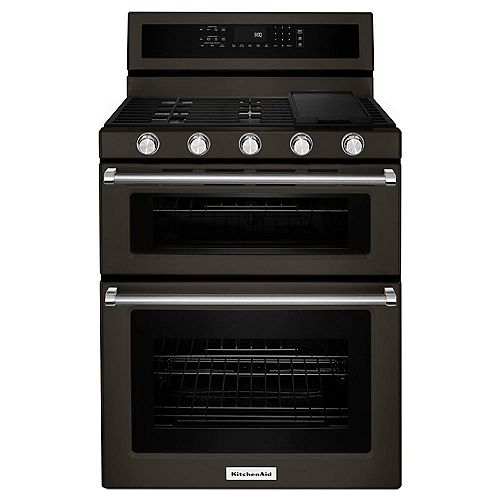 6.0 cu. ft. Double Oven Gas Range with Self-Cleaning Convection Oven in Black Stainless Steel