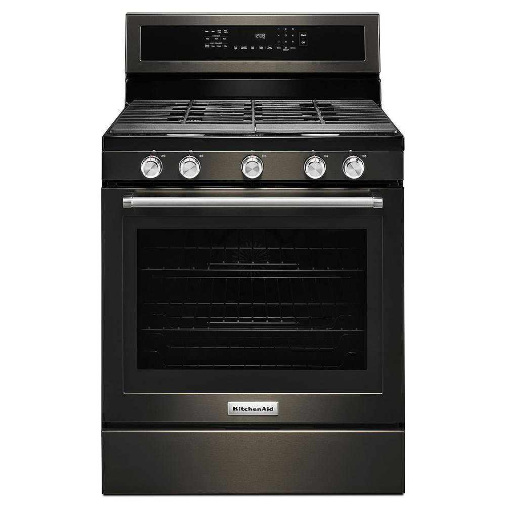 KitchenAid 5.8 cu. ft. Gas Range with Self-Cleaning Convection Oven in Black Stainless Steel